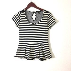 MONTEAU Black & White Striped Peplum Top